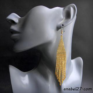 купить стильные серьги золотистые струящиеся бисер