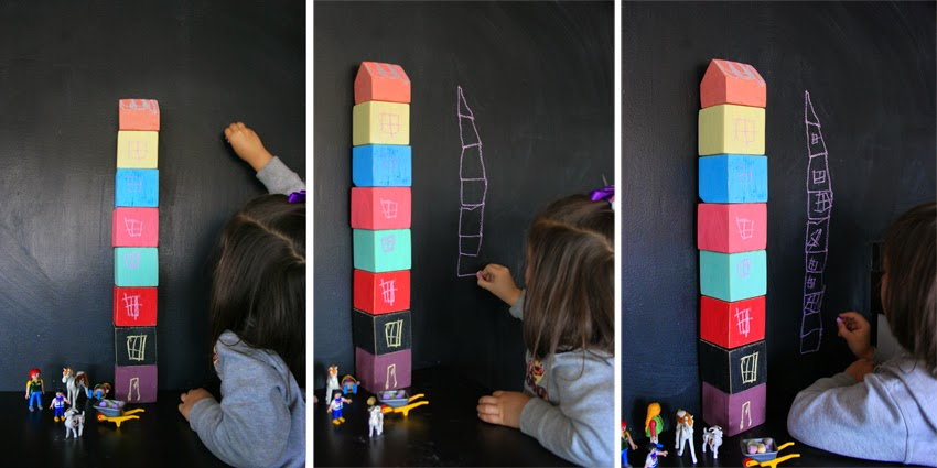 Pequeños arquitectos: Juego de apilables con bloques de palet pintados con chalk paint10