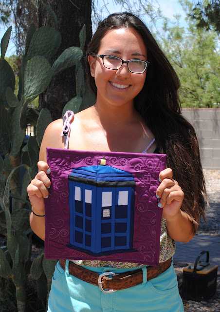 tardis paper pieced quilted wall hanging