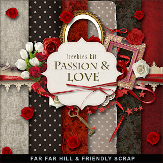"Free scrapbook mini kit ""I Love You""  from Far Far Hill"