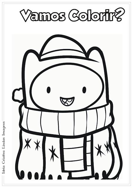 Hora de Aventura Finn Natal desenho para colorir