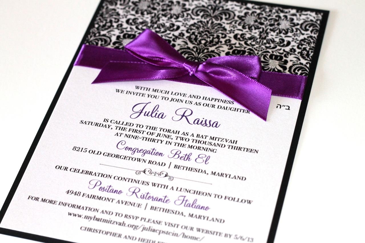 Embellished Paperie: Black, White and Purple Damask Bat Mitzvah ...