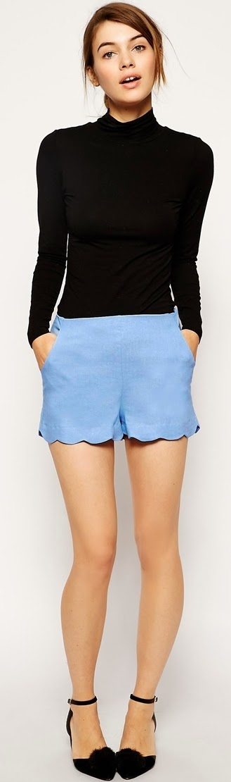 linen scalloped hem shorts only 15 dollars