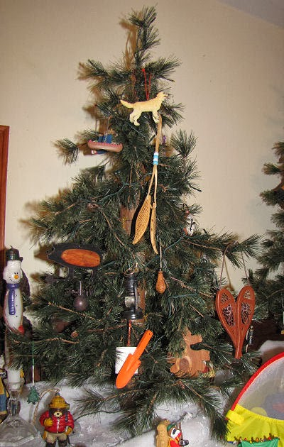 Christmas tree with camping ornaments