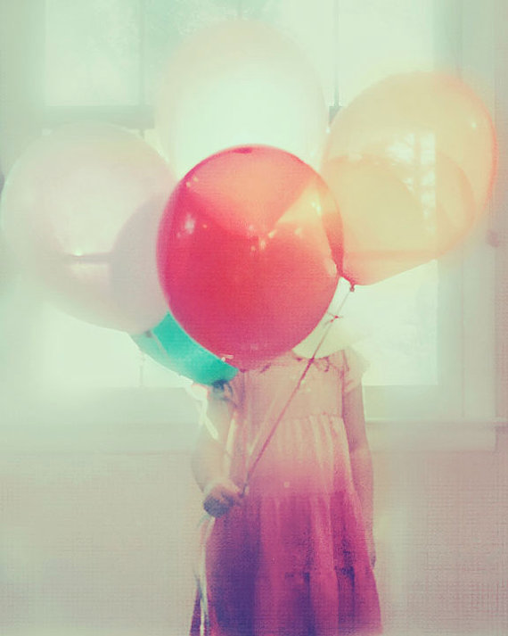 party girl, portrait, surreal, balloons,