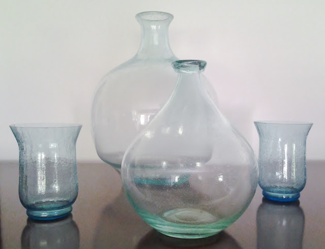 Turquoise bottles, vases, home decor, color, design, improve
