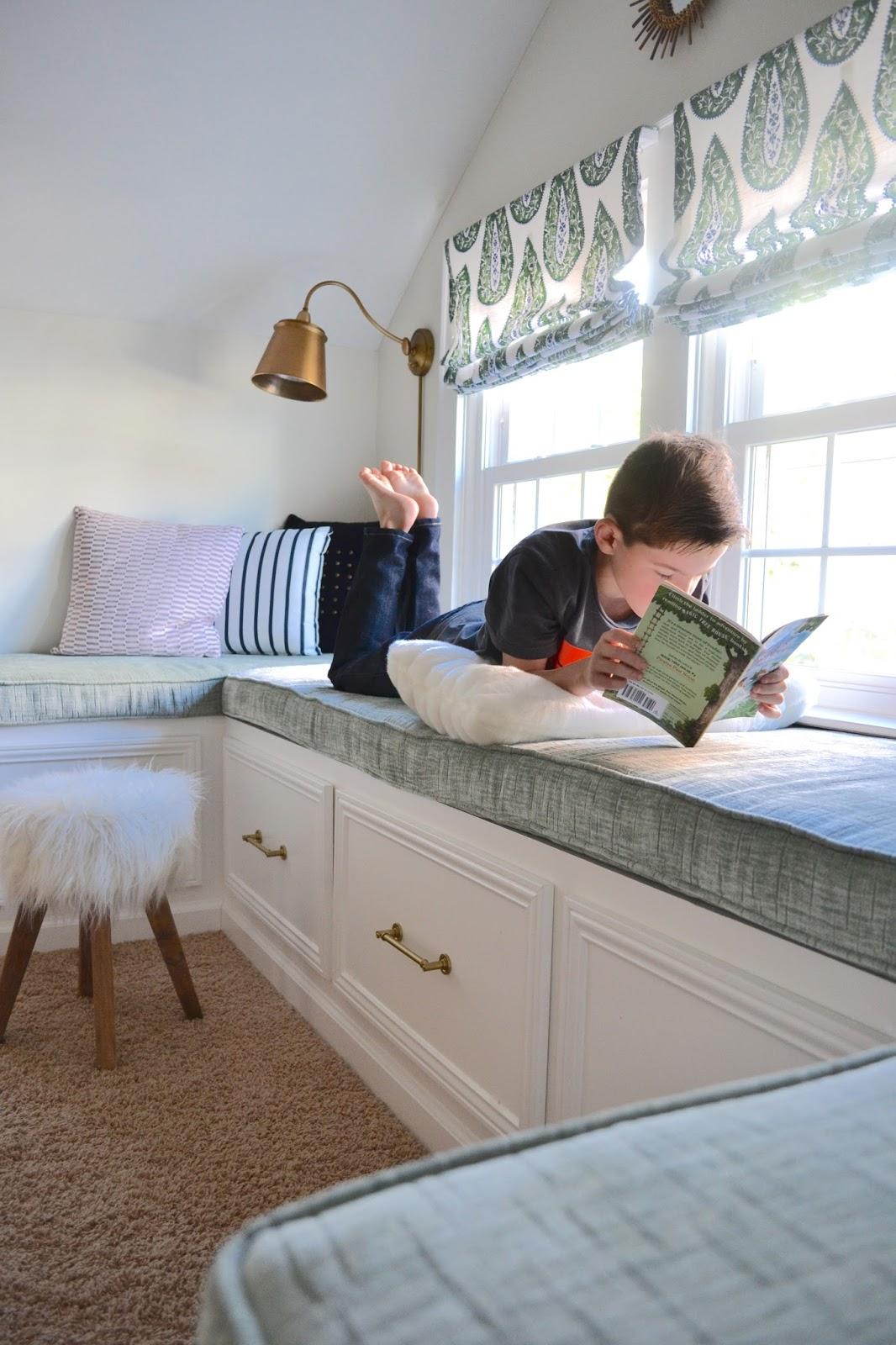 Cushioned window bench and bookshelf hgtv - My Landing Nook Design Post Interiors