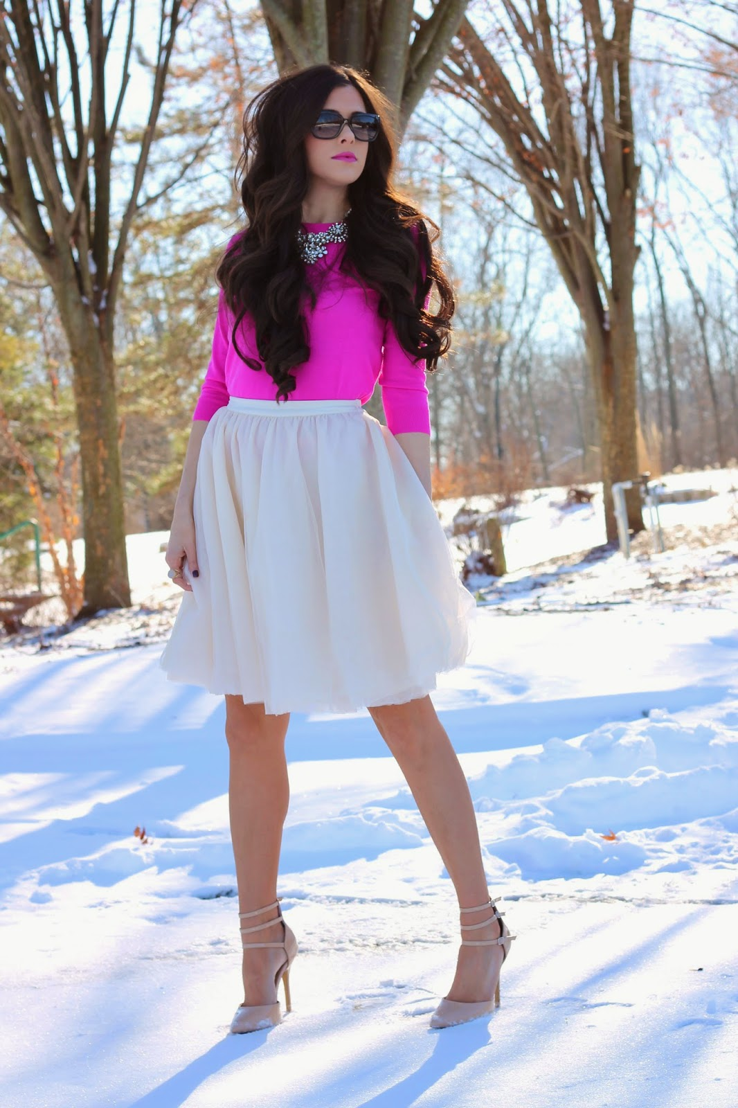 hot pink sweater, hair extensions, bellami hair extensions, nude pumps, crystal necklace, jcrew necklace, tulle skirt, cream tulle skirt, elysian boutique, jcrew, jcrew factory, fashion blog, style blog, winter pinterest trends, fashion pinterest, winter pinterest fashion, emily gemma, www.thesweetestthingblog.com, prada timeless square sunglasses
