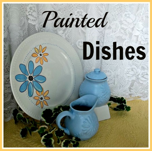 Vintage, Paint and more... stenciled dollar store plate and spray painted thrift store finds