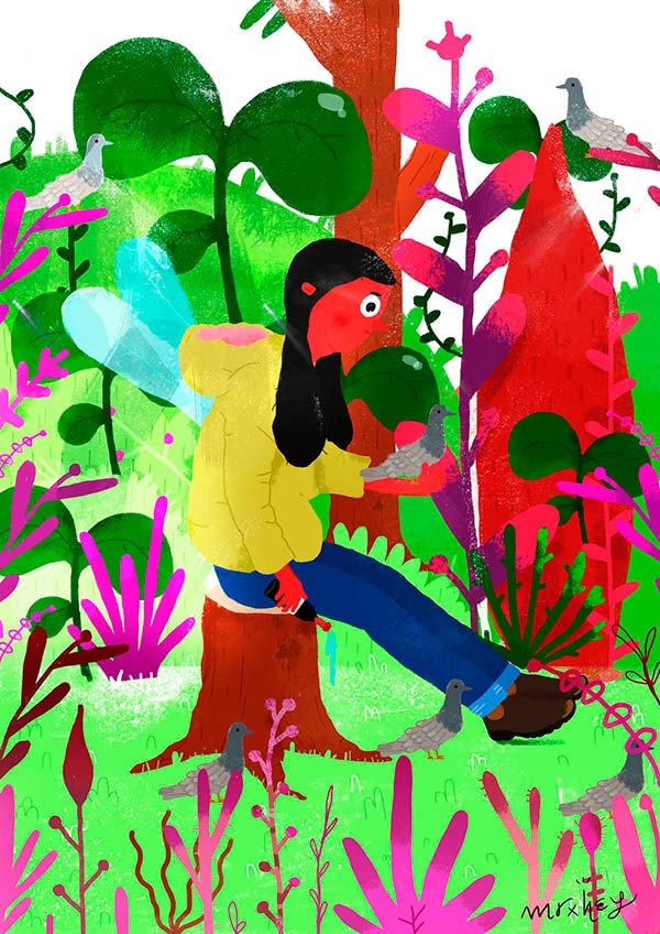 Ilustración, En el bosque de Luis Toloza Guerrero