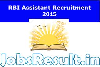 RBI Assistant Recruitment 2015