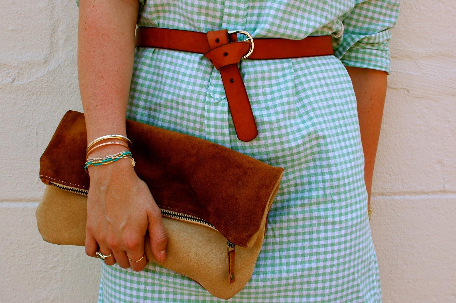 Mint Dress, Brown Belt, Suede Ceri Hoover Clutch, Christina Kober Designs, Summer Accessories