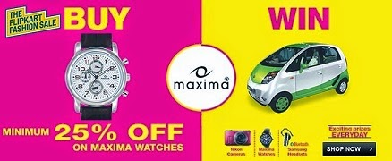 Buy Maxima Watches (Min 25% Off – Max 75% Off) @ Flipkart & Win 1 Nikon Camera , 2 Samsung Bluetooth Head Set and 7 Maxima Watches Daily