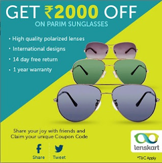 Enjoy Flat Rs.2000 Off on High Quality Polarized Parim Sunglasses at Lenskart