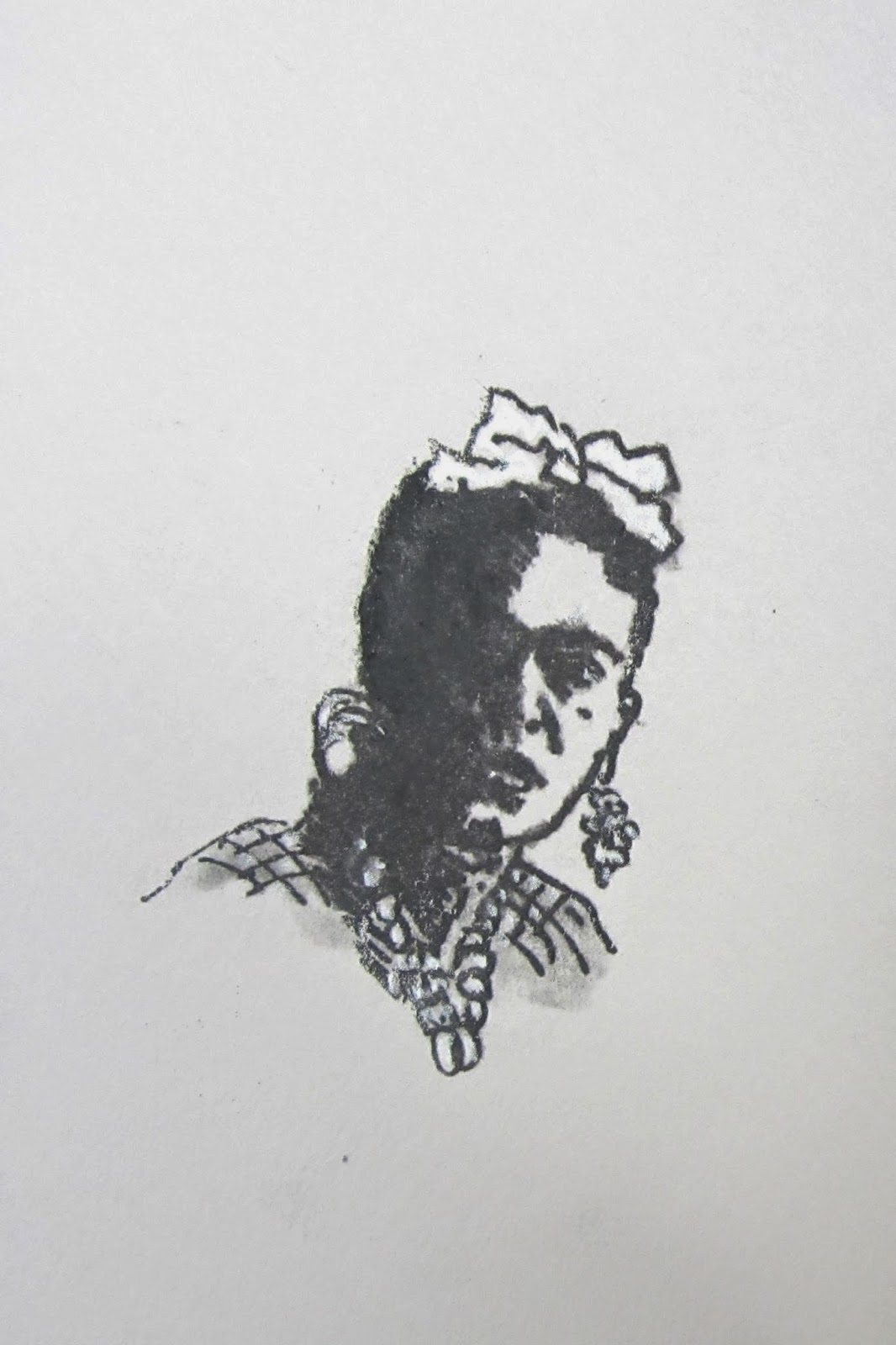 La Frida II Etching, 3x3 inches c. 1979 by F. Lennox Campello