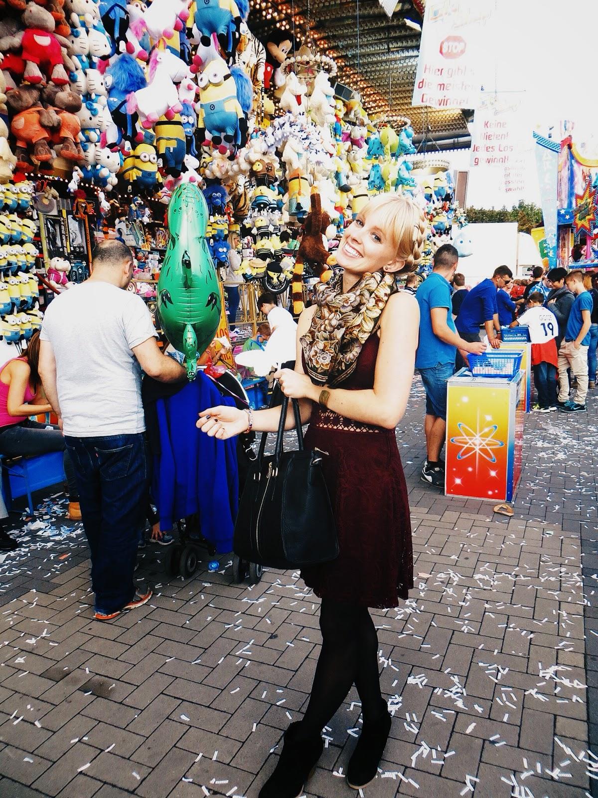 deb shops maroon illusion dress, black tights, deb shops black booties, deb shops oversized black satchel, vintage scarf, milkmaid braids, festival style, fall festival, bad durkheim wine festival, germany festival