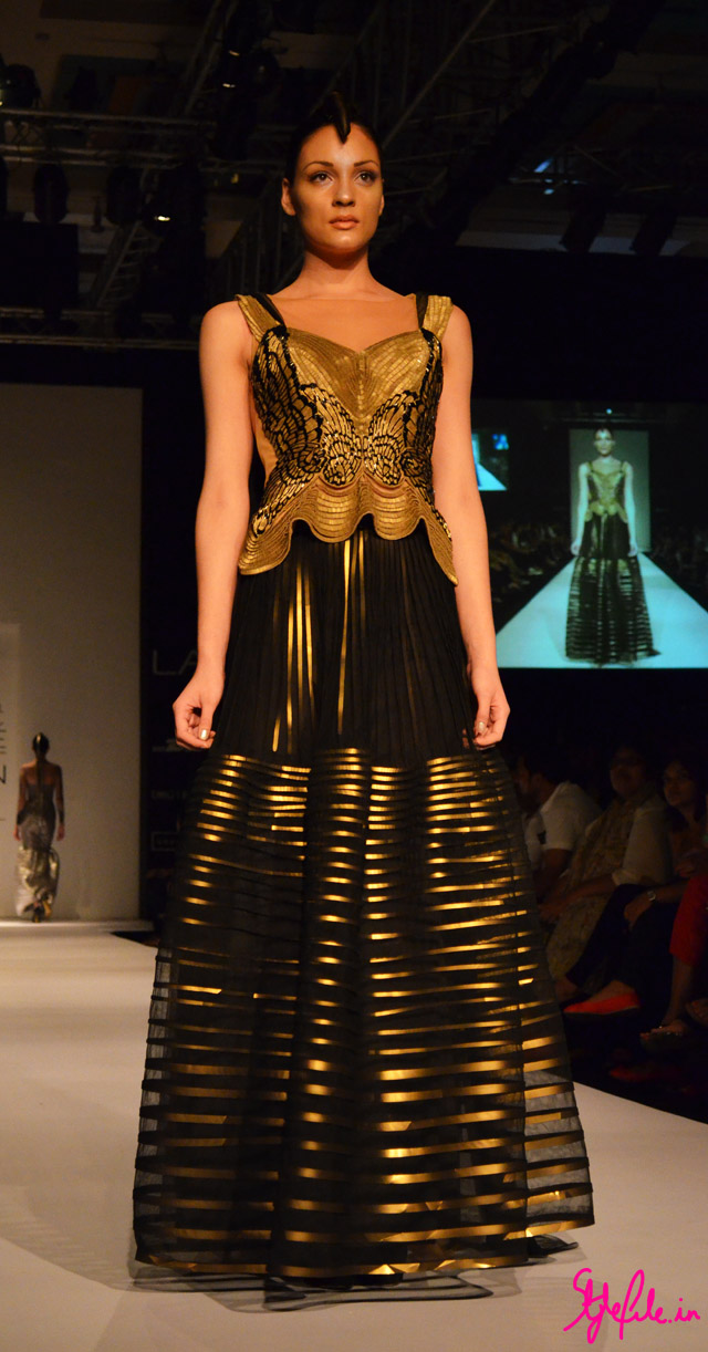 moulding metallics gown beadwork drapes bustier sheer for amit aggarwal at lakme fashion week 2013