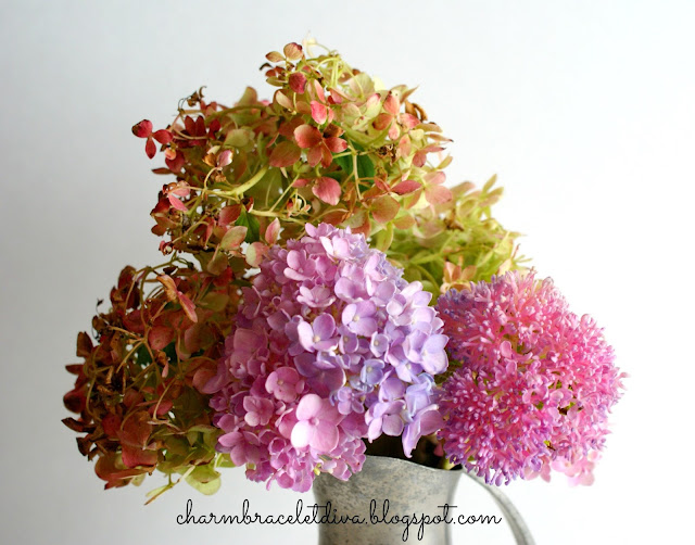 hydrangeas in vintage Royal Holland pewter pitcher