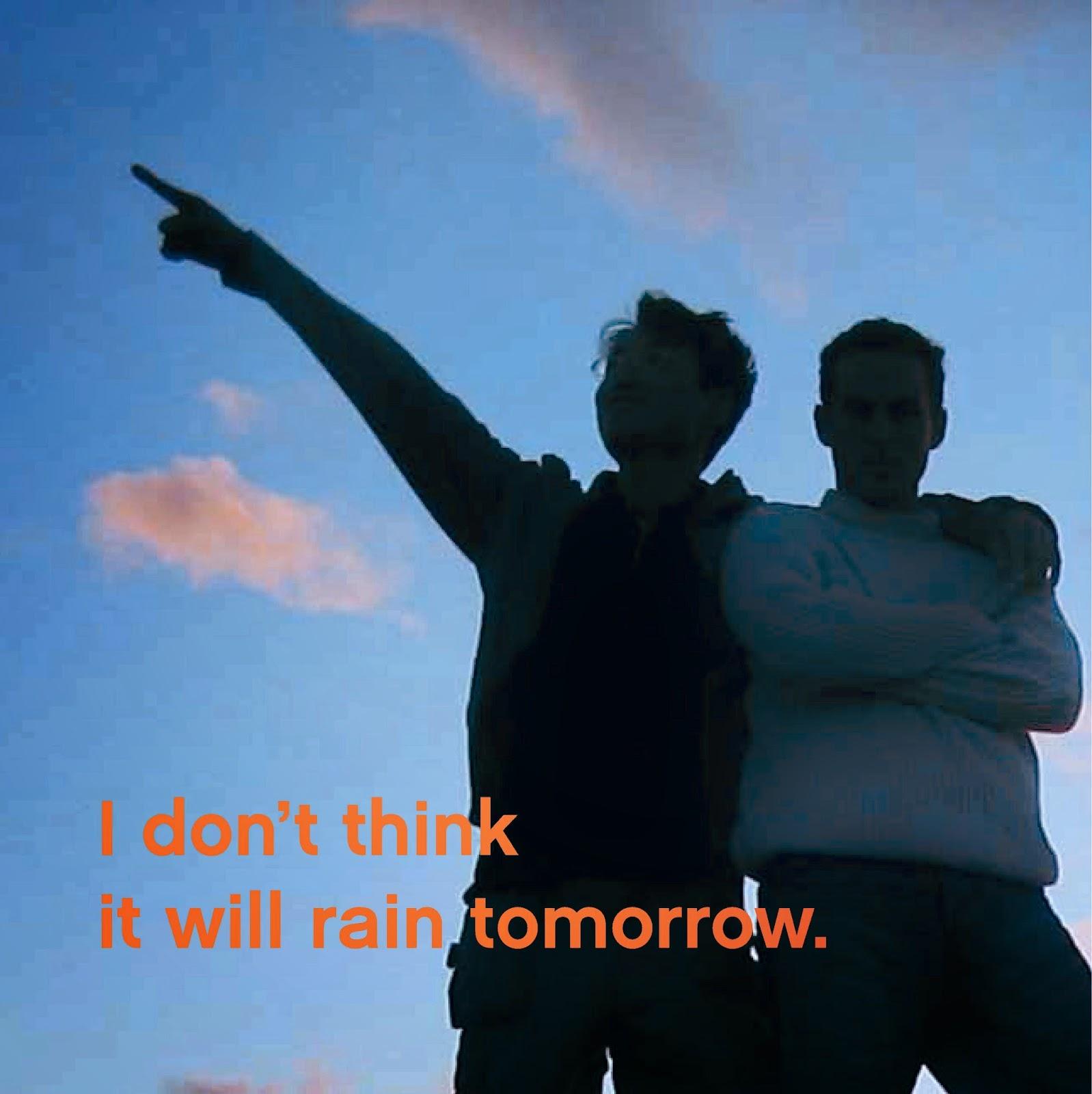 Dos personas en silueta contra el cielo, apuntando al cielo con el dedo.