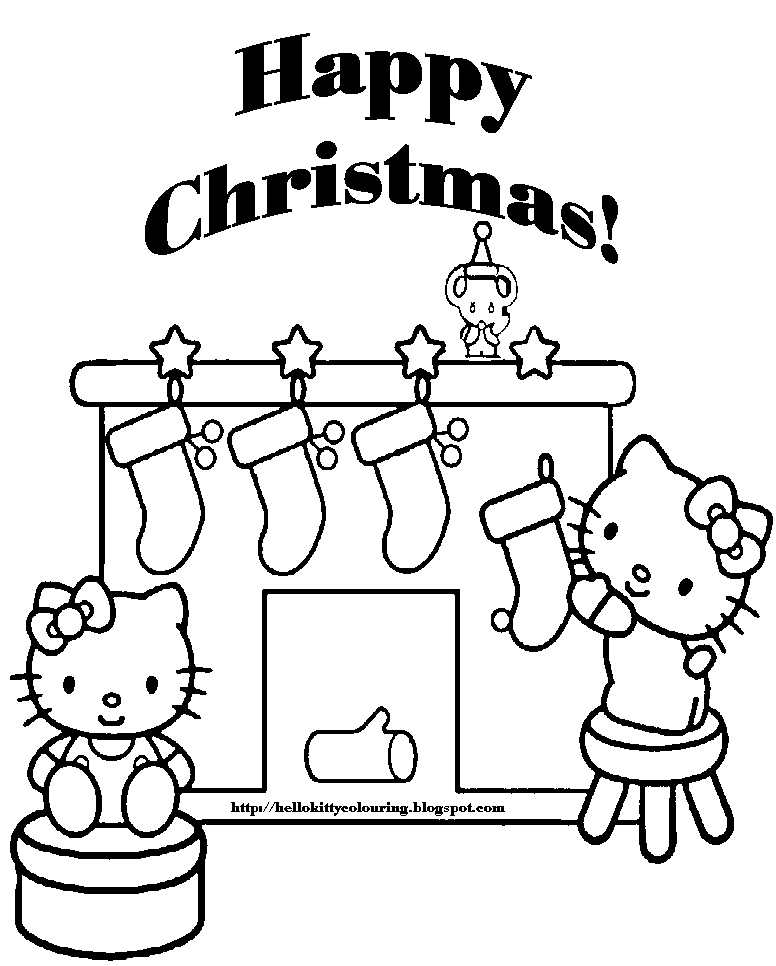 Hello Kitty Christmas Coloring Sheets Pictures to Pin on Pinterest