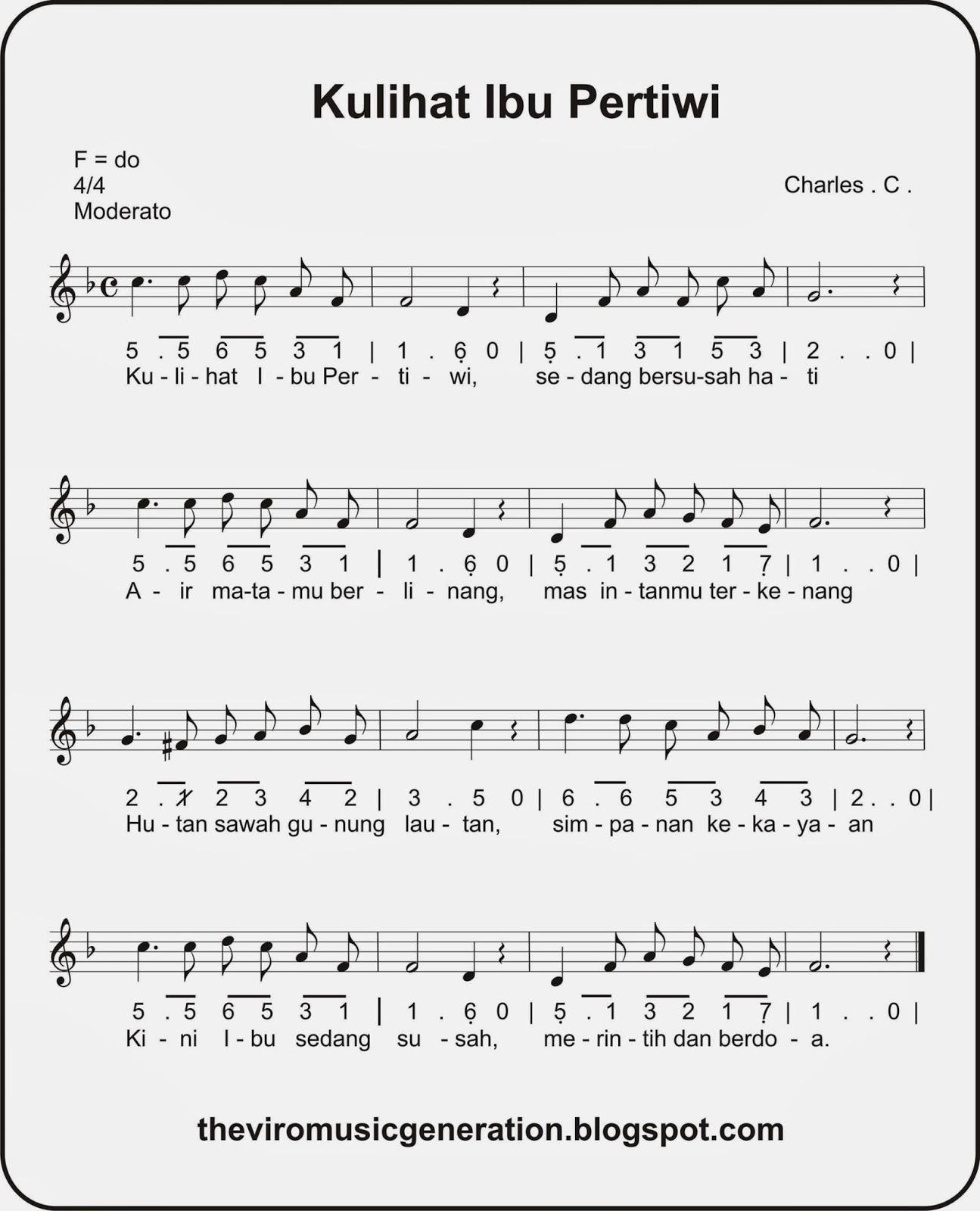 the viro: notasi lagu kulihat ibu pertiwi