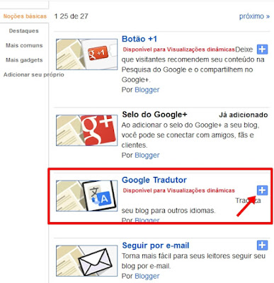 Gadget Google Tradutor no Blogger