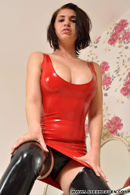 Sexy Red Latex Dress, Black latex Panties Yum