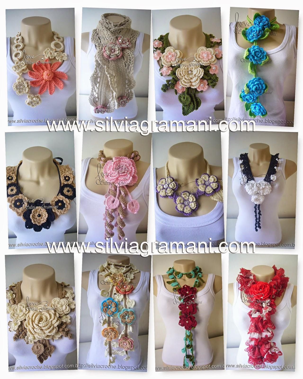 Peças de crochê apostila I, cachecol, colare de flores