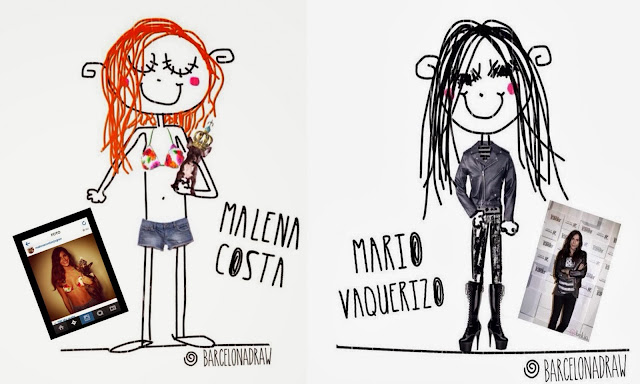 Caricatura Malena Costa y, caricatura Mario Vaquerizo BarcelonaDraw