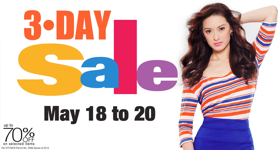 Robinsons Department Store Thee Day Sale For The Month Of May Philippine Promos Deals