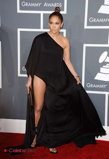 Jennifer Lopez  Pictures in Black Long Dress at The 55th annual Grammy Awards  0009