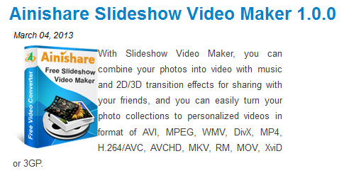 Free Ainishare Slideshow Video Maker 1.0.0 giveaway