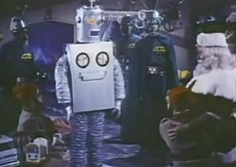 A robot captures Santa in Santa Claus Conquers the Martians http://movieloversreviews.blogspot.com/2012/12/santa-claus-conquers-martians-1964.html