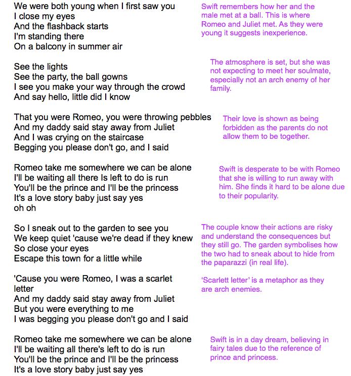 Ruby Rhodes A2 Media Studies : Lyric Analysis: Taylor Swift - Love ...