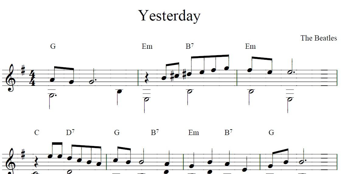 Damian rey partitura de yesterday the beatles for Partituras de guitarra clasica
