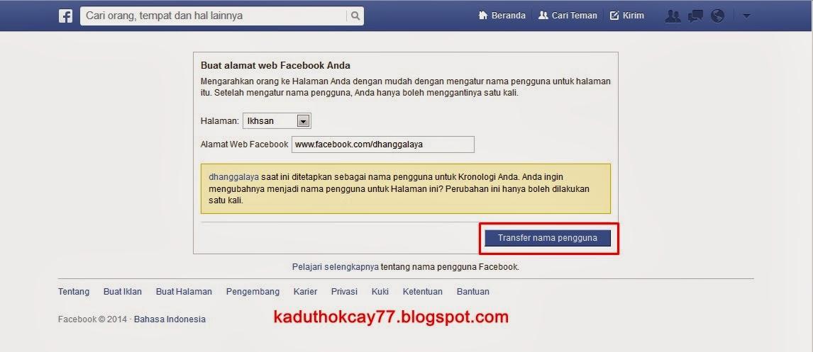 transfer nama pengguna facebook