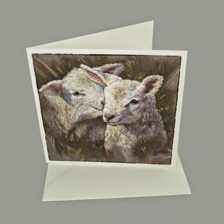Atelier for Hope Kunstkaart incl. enveloppe, afbeelding schilderij lammetjes