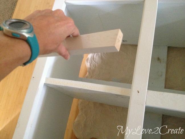 MyLove2Create, Cubby Shelf Revamp, adding small trim