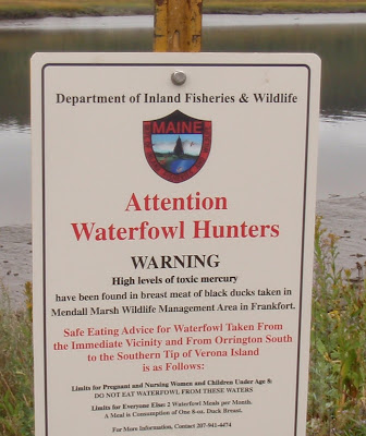 Maine: sign to warn waterfowl hunters of potentially high mercury levels in the game meat.