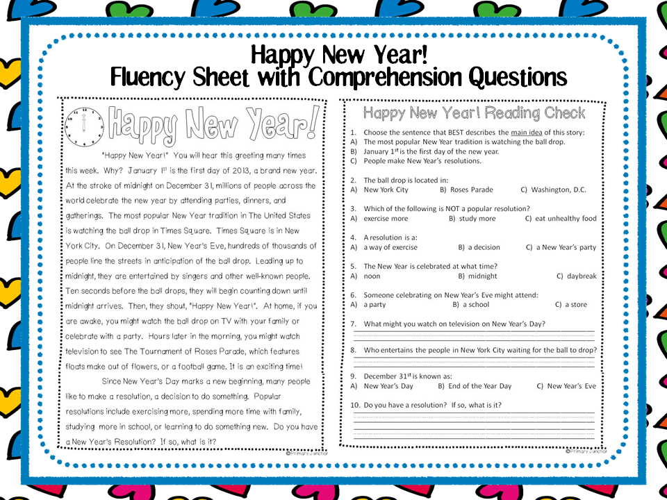 ... reading passage and comprehension question sheet about New Year's Day