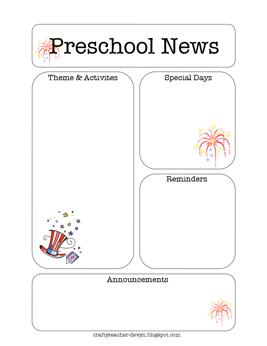 The Crafty Teacher: July Preschool Newsletter Template