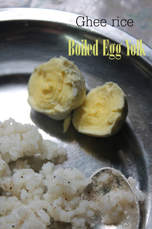 Ghee rice boiled egg yolk for babies rice recipes for babies along with her rice i never leave to feed a hard boiled egg yolk to her forumfinder Images