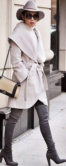 Moda casaco comprido quente