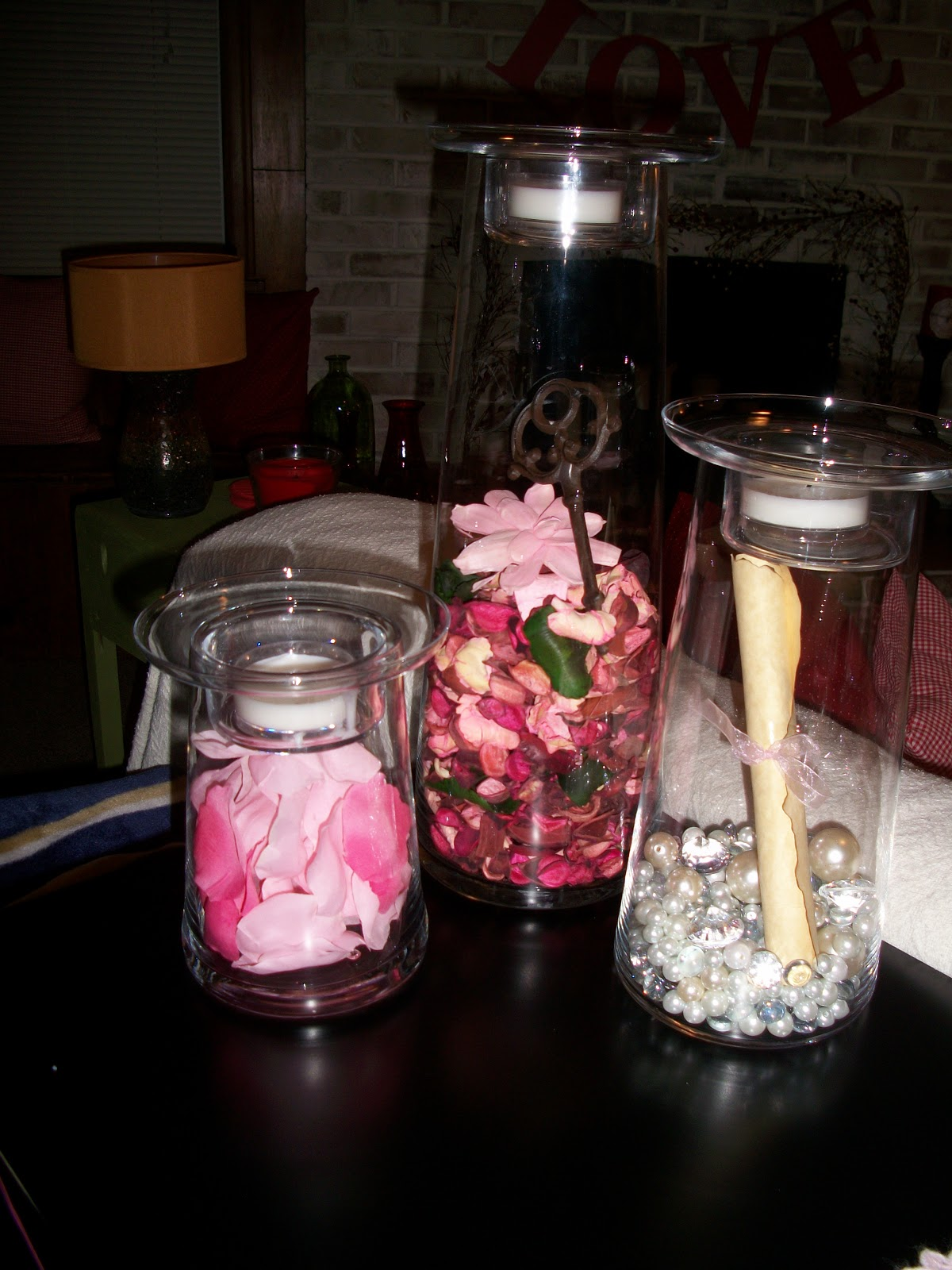 The many adventures of the williams family my valentines day for my tall vases this year i went for a pink theme i have silk petals in one vase the medium vase i picked jewels and pearls for the bottom reviewsmspy
