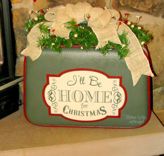 Holiday, suitcase, painted, christmas decor, christmas colors