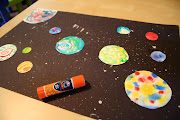 Closeup of splatter stars and colorful planets!