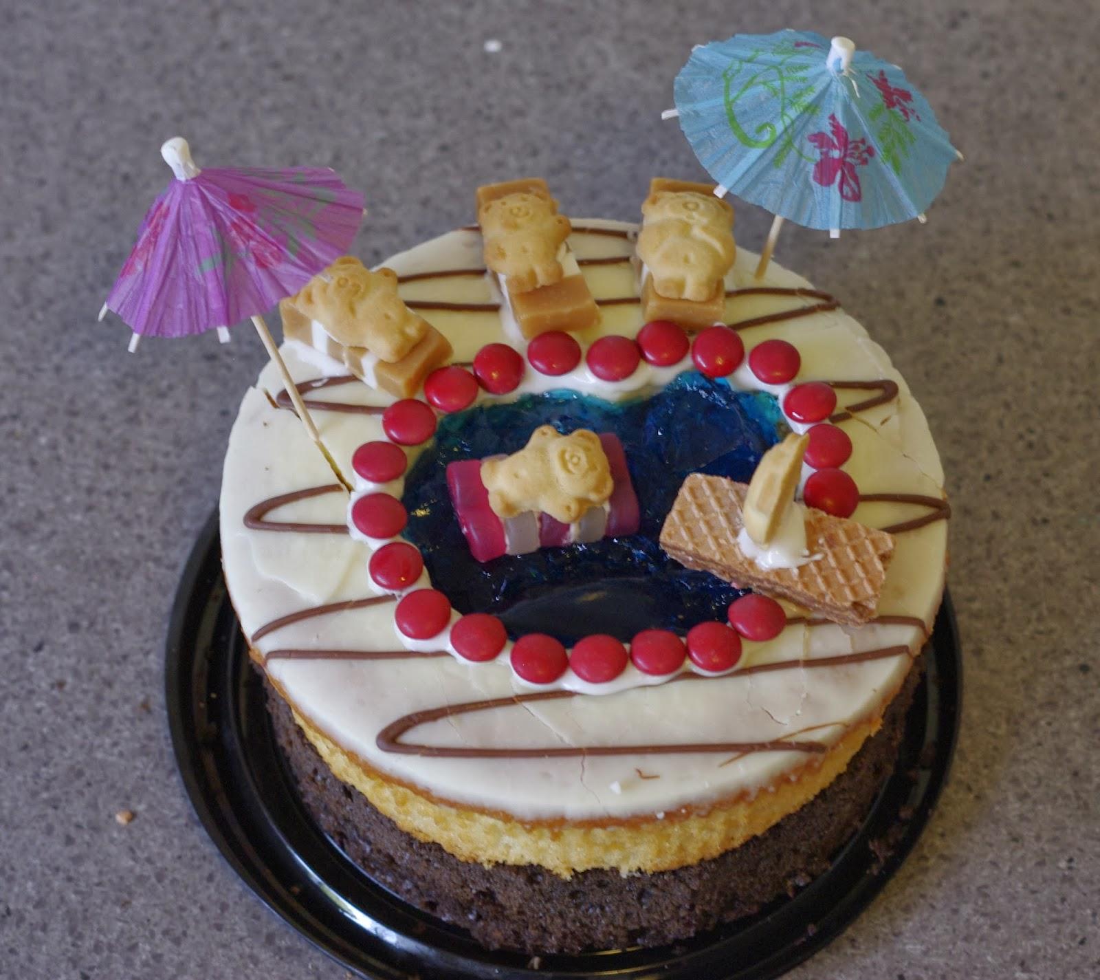 Pixelated Mushroom Swimming Pool Birthday Cake