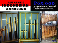 AUTHENTIC INDONESIAN BAMBOO ANGKLUNG WITH FREE HANGER STAND