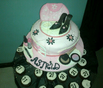 21st Cake & cupcakes