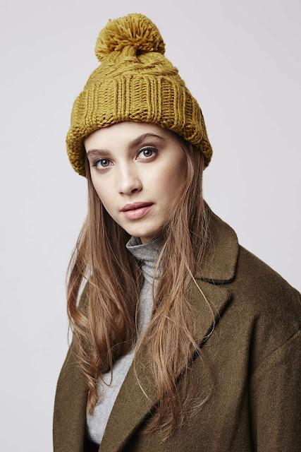 mustard beanie, mustard pom pom hat, mustard knit hat,